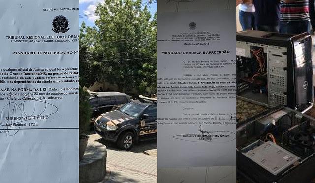 La Policía Federal irrumpió en la sede del sindicato docente en Campina Grande, municipio de Paraíba, en la región noreste de Brasil - Créditos: Divulgación