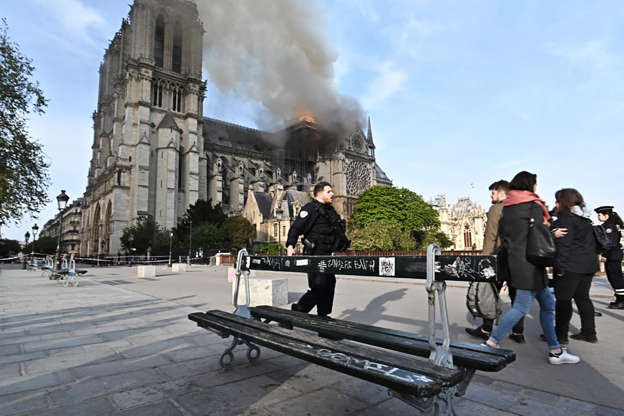 Slide 23 of 31: PARIS, FRANCE - APRIL 15, 2019: Notre-Dame de Paris, a Catholic cathedral founded in the 11th century, has caught fire. Stoyan Vassev/TASS (Photo by Stoyan Vassev\TASS via Getty Images)