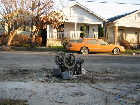 Wheelchair on street after Hurricane Katrina