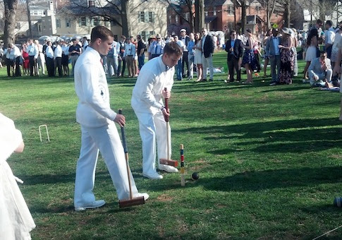 Navy Midshipmen playing the St. John's Johnnies at the 32nd annual croquet match between the two colleges / CJ Ciaramella