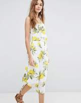 Moon River Bow Camisole Dress in Lemon Print