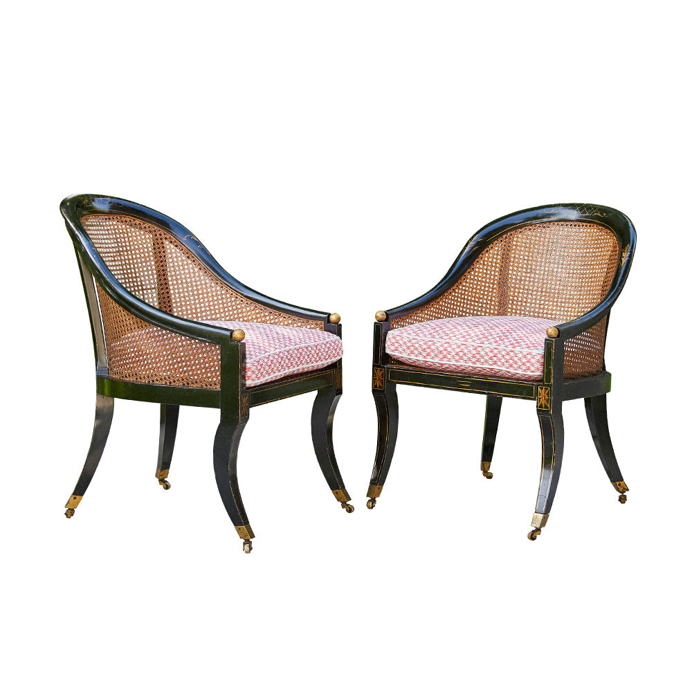 Image of Caned Barrel Back Chairs