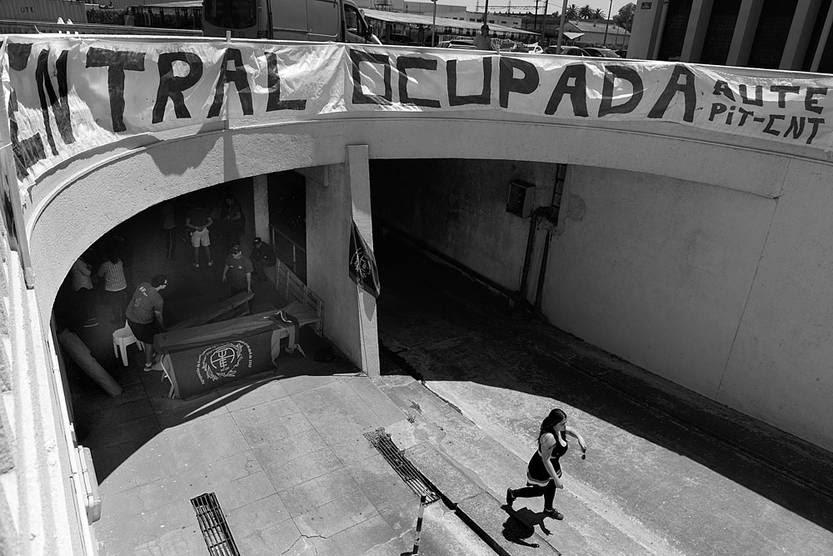 La Central Batlle, ocupada ayer por el sindicato de trabajadores de UTE. Foto: Santiago Mazzarovich