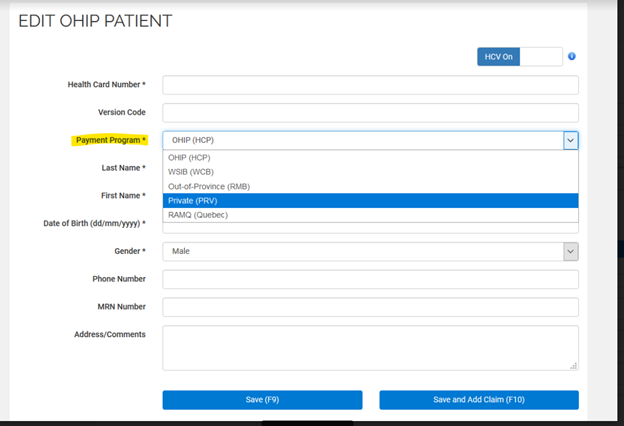 Edit OHIP patient informations