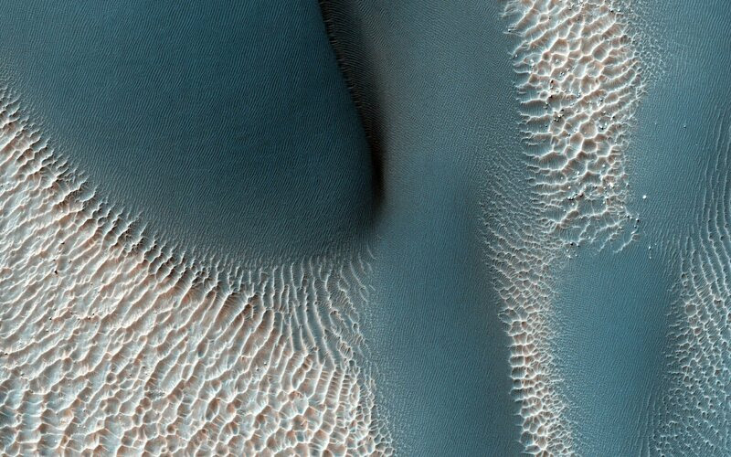 Sand dunes in southern Terra Cimmeria showing the effects of Martian winds.