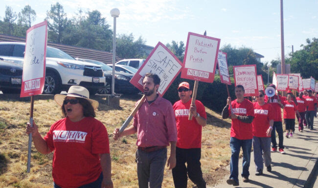Marin County caregivers strike and picket to defend free speech.