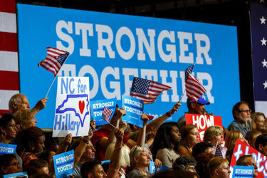 "A rally for Hillary Clinton in Raleigh, N.C., on Wednesday. Her ""Stronger Together"" slogan mirrors one used by the ""Remain"" campaign in the British referendum on leaving the European Union."