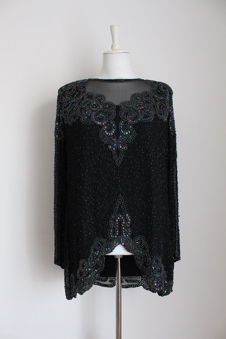 100% SILK VINTAGE BEADED BLACK EVENING TOP - SIZE 14