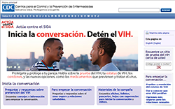 Screenshot of the Spanish version of the CDC Start Talking. Stop H I V. campaign Web site.
