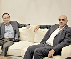 Meimarakis, de Nueva Democracia, reunido ayer con Lafazanis, líder de Unidad Popular. Foto: EFE
