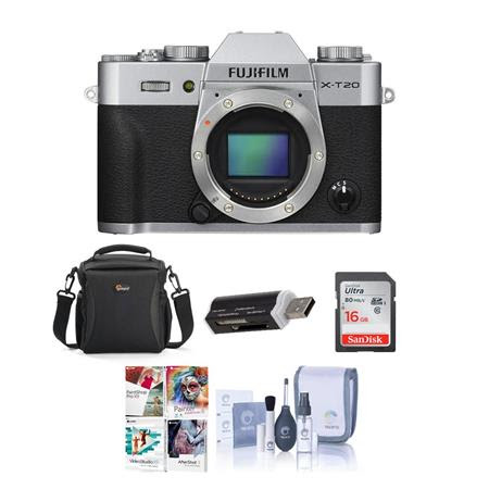 X-T20 24.3MP Mirrorless Digital Camera UHD 4K Video, Panorama, Silver - Bundle With camera