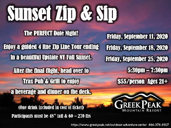 Sunset Zip and Sip - call for pricing 866-376-3907