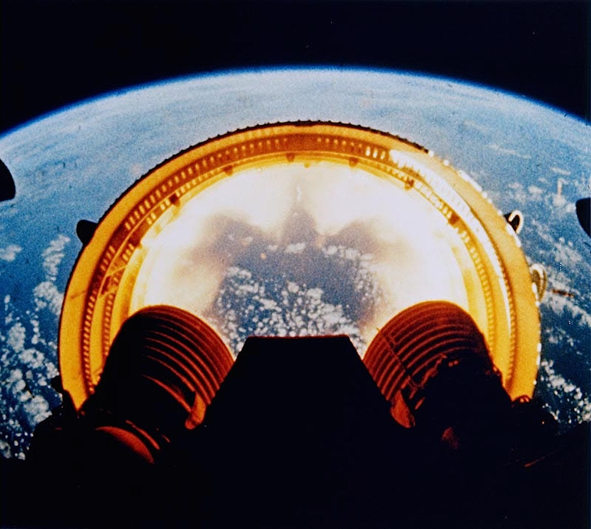 These engines burned for a total of six minutes, propelling the remaining rocket stages to an altitude of 109 miles.