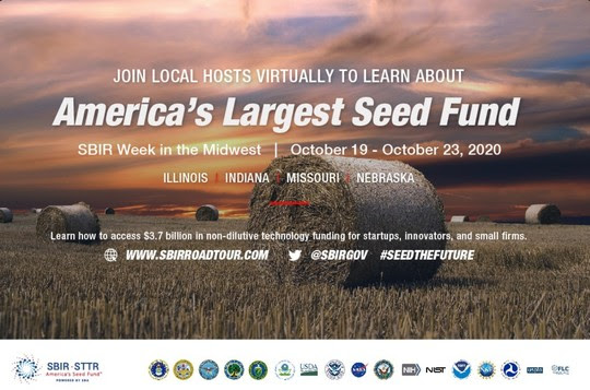 Join local hosts virtually to learn about America's largest seed fund.  SBIR Week in the Midwest October 19 - 23, 2020