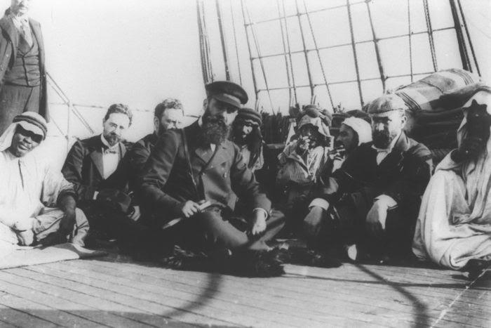 Theodor Herzl en route to Israel aboard a ship in 1898. (Wikimedia)