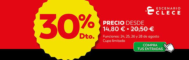 30% Dto. Precio 14,80€ Escenario Clece. Compra tus entradas.