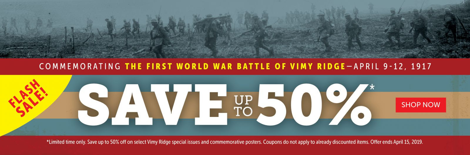 SAVE 50% with our Vimy Flash Sale