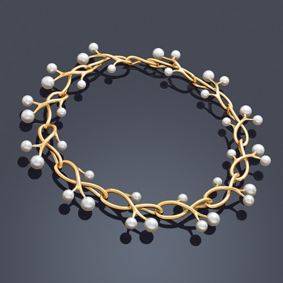 angela cummings for assael_thorn sprig necklace_36 Akoya Pearls recalls a circlet crown with golden, sculpted tendrils - a collar necklace that frames the face with luminous warmth..jpg