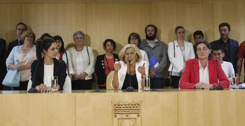 Imagen de la rueda prensa ofrecida tras la primera Junta de Gobierno del Ayuntamiento de Madrid. EFE
