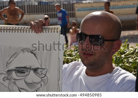 Marseille, France - October 06, 2016 : French cartoonist Djony Rubio at the 5th edition of the International festival of press and political cartoons at l'Estaque.