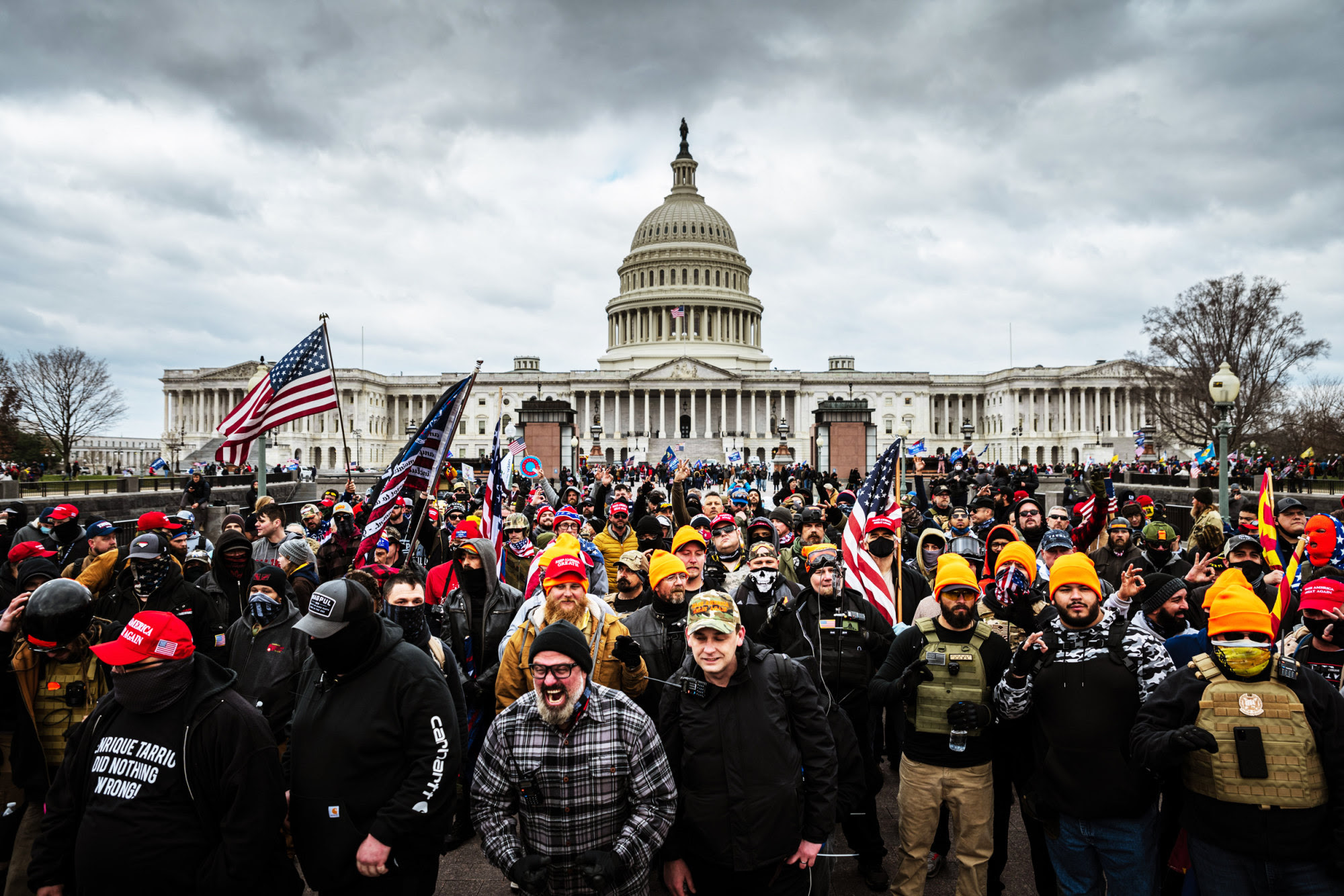 Trump supporters gather in front of the Capitol