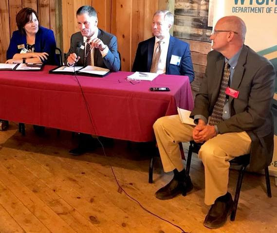 State Treasurer Mark Gordon speaks during a panel on Financial Literacy moderated by Bob Beck of Wyoming Public Radio.