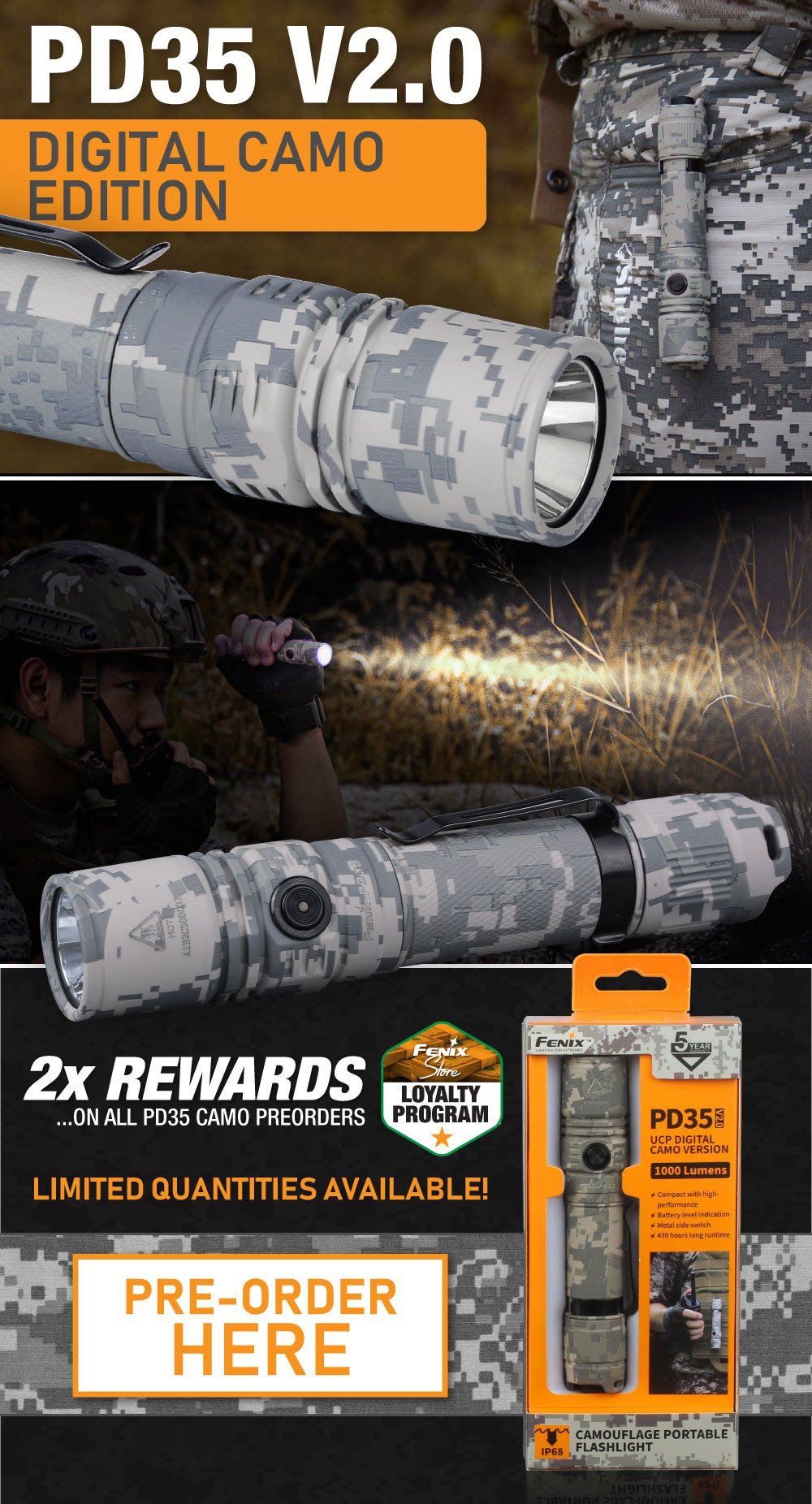 Fenix PD35 V2.0 Digital Camo LED Flashlight