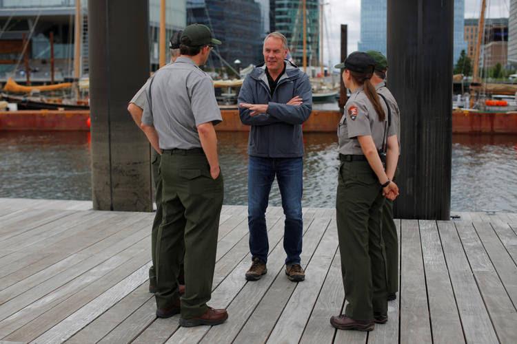 Interior Secretary Ryan Zinke talks to National Park Service rangers in Boston. (Brian Snyder/Reuters)
