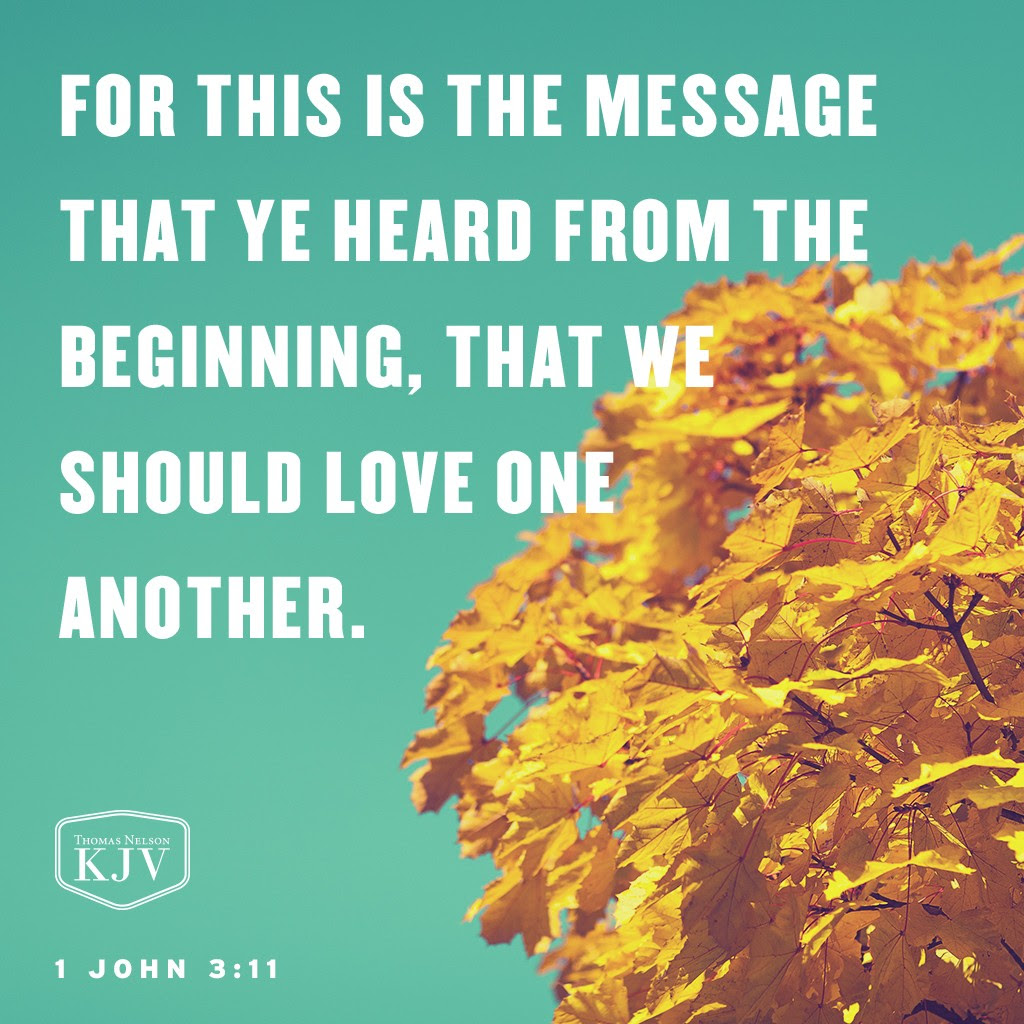 11 For this is the message that ye heard from the beginning, that we should love one another. 1 John 3:11