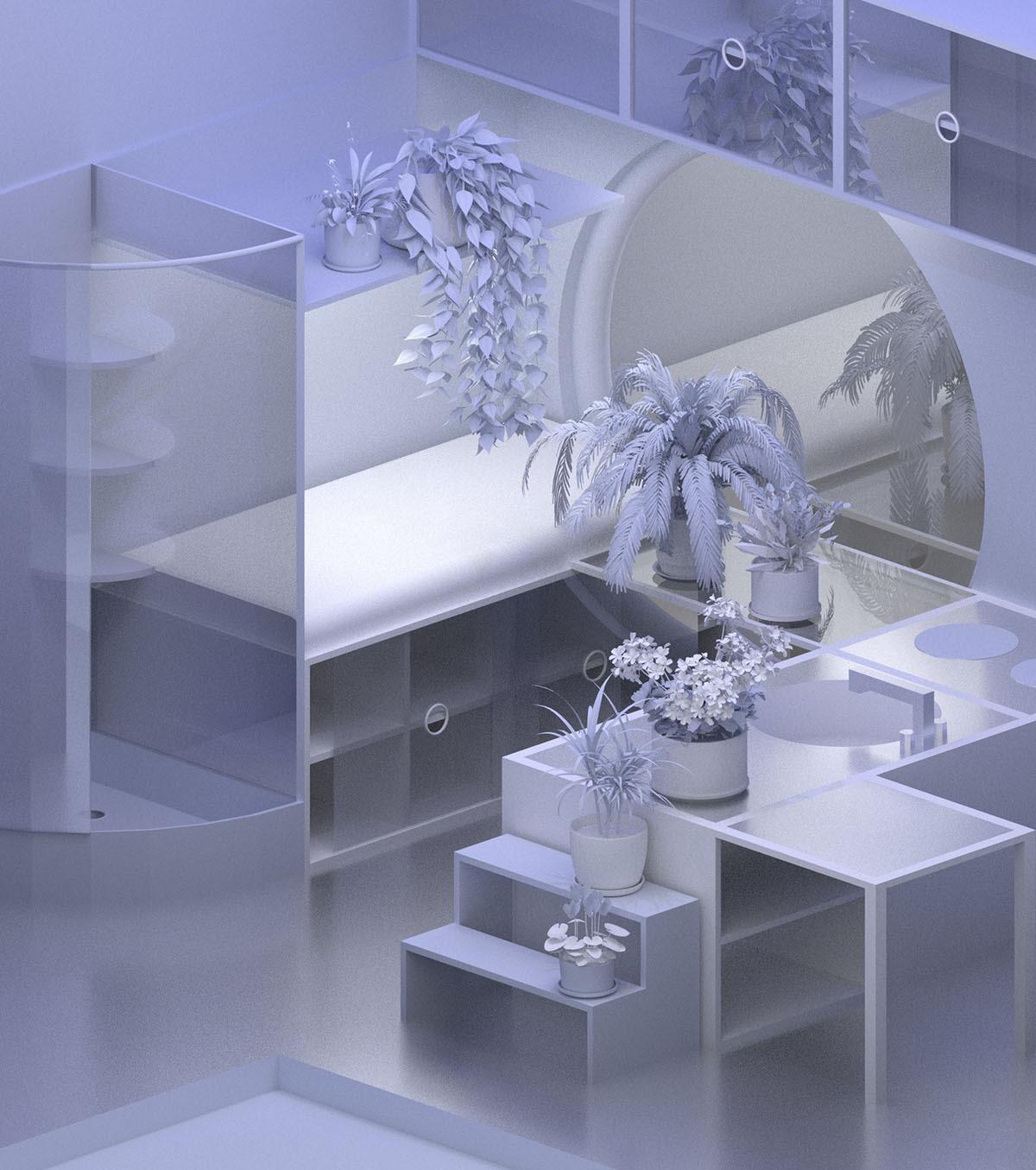 3D purple living room