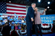 Hillary Clinton with Al Gore during a campaign rally Tuesday at Miami Dade College's Kendall Campus in Miami.