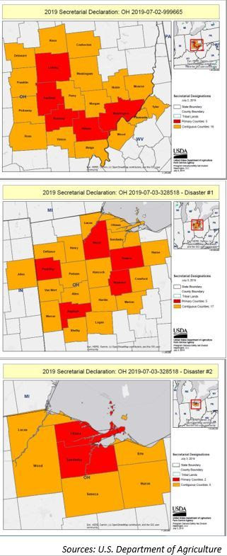 USDA maps showing Secretarial Declarations