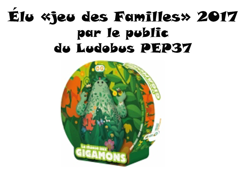 """Elu """"jeu des familles"""" 2017 par le public du LUDOBUS PEP37"""