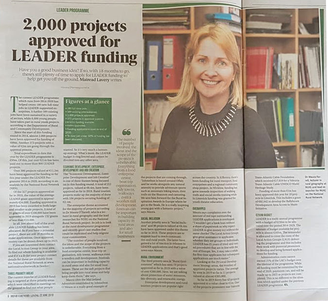 Irish Farmers Journal article on LEADER funding with image of Dr Maura Farrell from NUIG and the NRN