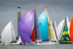 J/109s sailing off Cowes start line