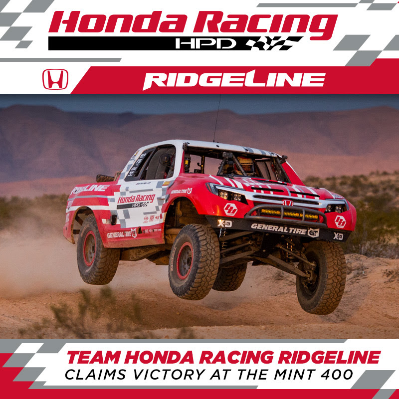 Team Honda Racing Ridgeline Claims Victory At The Mint 400 In Las Vegas