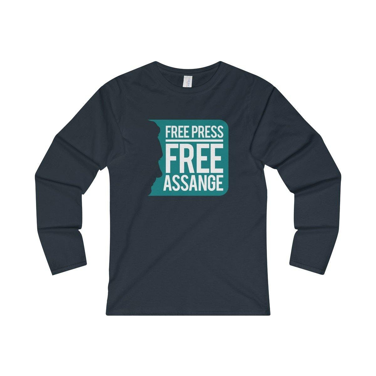 Free Press Free Assange - Women's Fitted Long Sleeve Tee