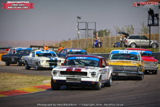 Ben Morgenrood took his Ford Mustang to the day's opening SKF Pre-1966 Legend Saloon Car race victory