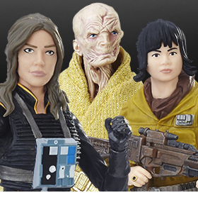 STAR WARS: THE BLACK SERIES JAINA SOLO, ROSE, & SUPREME LEADER SNOKE