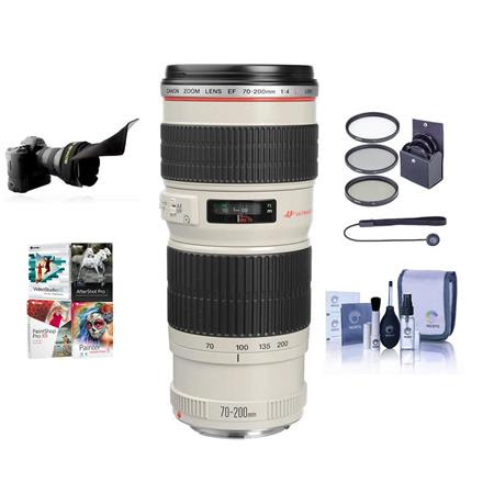 EF 70-200mm f/4L USM AF Lens Kit, USA with 67mm Filter kit, Lens Cap Leash, Professional L