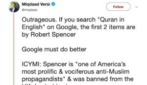 UK Islamic supremacist Miqdaad Versi demands that Google censor Robert Spencer's guide to the Qur'an