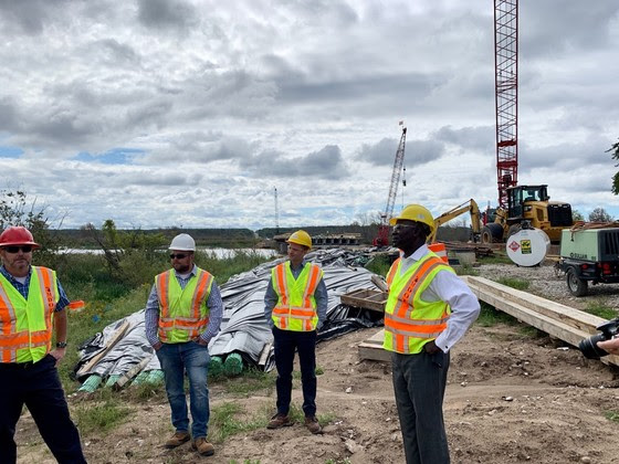 Director Ajegba at the M-55 bridge project near Manistee