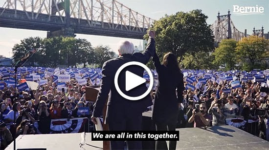 Bernie and AOC at Queensbridge rally
