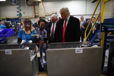 President-elect Donald J. Trump with employees at the Carrier plant in Indianapolis on Thursday.