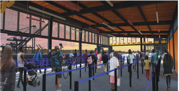 Inside design rendering of the passenger-only ferry facility