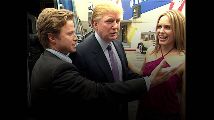 Donald Trump in 2005 with actress Arianne Zucker and Billy Bush. (Obtained by The Washington Post)