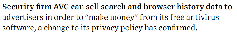 Quote from the Wired article about AVG's privacy policy change.