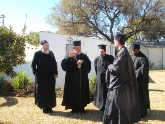 Archbishop Damaskinos has a tour of the monastery site.