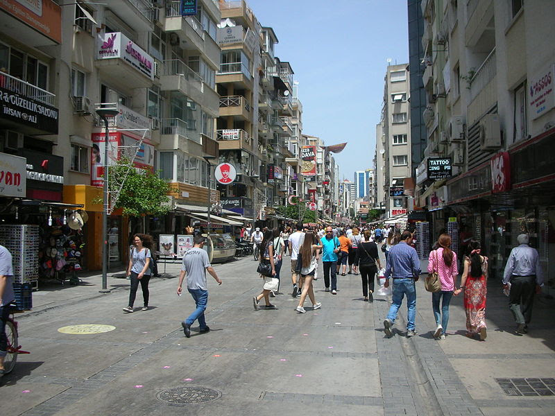 Popular street in Izmir, Turkey. (Wikipedia)
