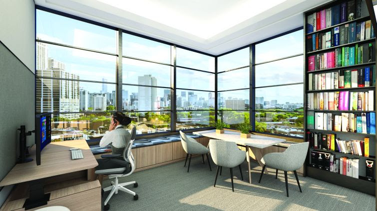 Rendering of a woman at a desk in an office with large windows.